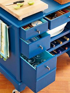 If changes to the rolltop desk are allowed, adding shelves in the chair/leg hole would be awesome.  If not, store bought wine holders would work.  Great way to use deep drawers for wine glasses and keep some some in the kitchen cupboards.