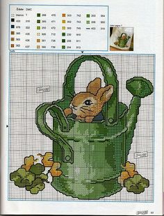 Beatrix Potter - Rabbits - Animals - Watering can - Garden Cross Stitch For Kids, Cross Stitch Baby, Cross Stitch Animals, Cross Stitch Charts, Cross Stitch Designs, Cross Stitch Patterns, Cross Stitching, Cross Stitch Embroidery, Embroidery Patterns