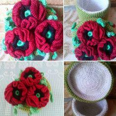 Шкатулка с маками #handmade #crochet #хендмейд #крючком #шкатулка