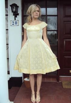 1950's Lemon brocade swing dress