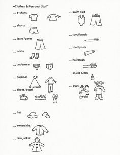 kids' packing list for trips and camping. cute.