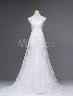 Elegant Ivory Sequin Sleeveless A-line Tulle Bridal Wedding Dress - Milanoo.com