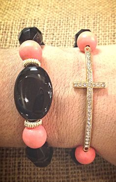 Black Coral and Gold Cross Bracelet Set by AroundMyWrist on Etsy, $20.00