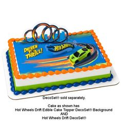 Add the look of action and speed to you cake by adding this Hot Wheels™ Drift Edible Image® Printed by PhotoCake®. Order and personalize your cake today. Bolo Hot Wheels, Hot Wheels Cake, Festa Hot Wheels, Happy First Birthday, Twin Birthday, Birthday Ideas, Birthday Parties, Cupcakes Online, Birthday Places