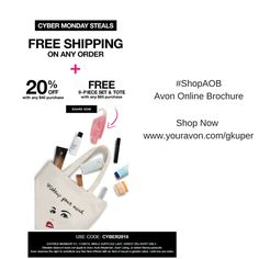 #Avon #CyberMonday #Free Shipping with any Order, plus 20% Off any $40 order. Free 9-Piece Set & Tote with any $65 Order. Use Code: CYBER2015  Offer expires midnight 11/30/15    #ShopAOB @ www.youravon.com/gkuper