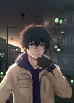ao no exorcist<<< those little flying things looks like Plagg from miraculous ladybug and Cat Noir