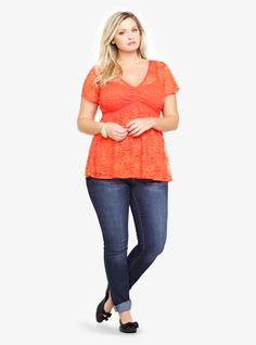 A double v-neck lace top in bright orange...spring perfection!; I lice color opposites!