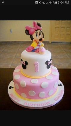 Possible Birthday cake. Mickey rather than minnie and Blue, not pink (mouse cake daughters) Baby Minnie Mouse Cake, Bolo Do Mickey Mouse, Mickey And Minnie Cake, Mickey Mouse First Birthday, Bolo Minnie, Mickey Cakes, First Birthday Cakes, Birthday Ideas, 3rd Birthday