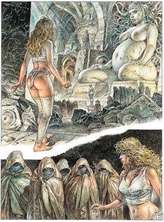 Serpieri, Mirror World Druuna Fantasy Comics, Fantasy Art, Manara Comic, Serpieri, Science Fiction Series, Bd Comics, Marvel Comics, Comic Book Pages, Comic Artist
