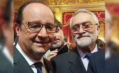 Sir Salvador Moncada con el presidente de Francia François Hollande. Honduras: Salvador Moncada recibe medalla del Senado francés  El científico hondureño fue honrado en la Semana de América Latina en París.