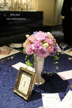 ゲストテーブル装花 紫