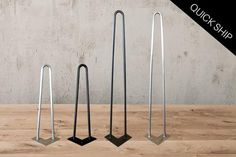 """Hairpin legs starting at $11.95 and ready to ship today! 1/2"""" thick, black or raw steel, 16"""" and 28"""""""