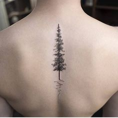 Sleek Small Pine Tree Tattoo for Upper Back