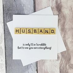 Husband Anniversary card Husband Birthday card Scrabble card   Etsy Baby Girl Cards, New Baby Cards, Happy Birthday Cards, Valentine Day Cards, Scrabble Cards, Scrabble Tiles, Anniversary Cards For Husband, Etsy Shop Names, Romantic Cards