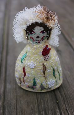 Matryoshka-Medium, Hand Embroidered Felt Zombie Bride Doll with Bleeding Heart, Vintage Lace and Mouse. New 2013 Style