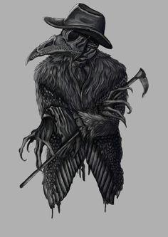 Mystical beggar of cheery creek Creepy Tattoos, Creepy Drawings, Dark Art Drawings, Plauge Doctor, Rabe Tattoo, Doctor Drawing, Doctor Tattoo, Satanic Art, Raven Art