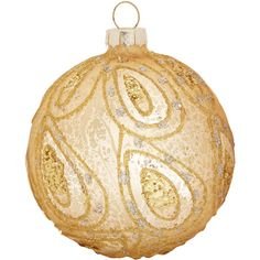 Gold Antique-Effect Glitter Paisley Bauble ($5.32) ❤ liked on Polyvore featuring home, home decor, holiday decorations, christmas, gold home accessories, gold home decor, antique home decor and paisley home decor
