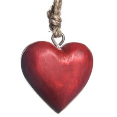 Wooden Heart Ornament - Red | Woodland Christmas | Cracker Barrel Old Country Store - Cracker Barrel Old Country Store