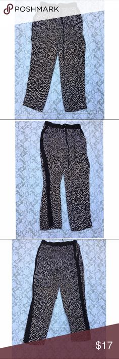"""Zac & Rachel spotted tuxedo stripe pants L These are super cute and can be paired with a white tee or switch it up with any other color! 100% poly. Can be worn casual or dressed up. Pockets. Approx 32"""" waist, 30"""" inseam, 10"""" front rise. ✅offers❌trades/PP 💰bundles save 20% off 2+ Zac & Rachel Pants"""