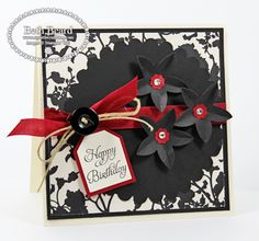 PINNER SAYS: Lovely use of Stampin Up's 5 petal flower punch! Crease and bend. #StampinUp #SU