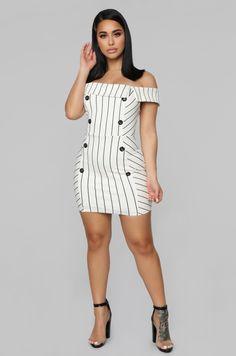 Available In White/BlackStripe DressButton DetailBack Zipper ClosureFull Polyester SpandexMade in USA Fashion Nova Models, Fashion 101, Trendy Dresses, Sexy Dresses, Sexy Outfits, New Arrival Dress, Grown Women, Voluptuous Women, Hot Dress