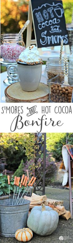 S'Mores and Hot Cocoa Bonfire Backyard Party | Plan a simple hot chocolate and S'mores party around the firepit. Great for cool autumn nights. Entertaining made easy! See more at
