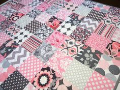 Pink n Grey Mix  Baby/Toddler Girl Quilt by NowandThenQuilts, $179.00