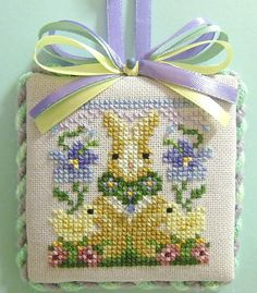 finished completed Just Nan Violets Humbug Bunny cross stitch ornament:
