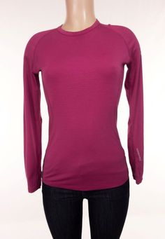 ICEBREAKER GT Technical Base Layer 200 S Small Pink Gray Merino Wool LS Top…