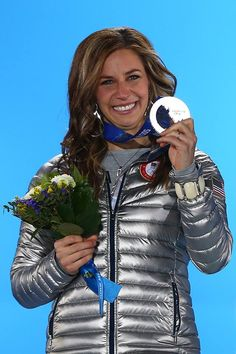Noelle Pikus-Pace with Silver Medal and Mormon LDS Young Women torch necklace: