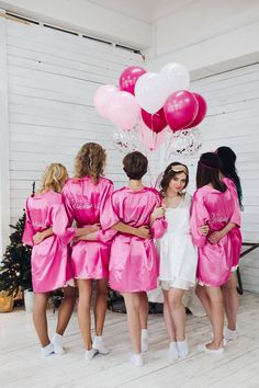 I love these satin robes for the bride, bridesmaids and/or maid of honor to wear while getting ready for the wedding. The only thing I'd change would be to have some red (for whoever is wearing red instead of pink) robes as well. Bridesmaid Robes, Wedding Bridesmaids, Bridesmaid Pictures, Wedding Pictures, Bridal Party Robes, Party Wedding, Wedding Gifts, Bride Shower, Before Wedding