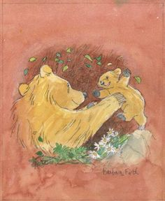 Barbara Firth: Preliminary book cover artwork for the book 'Well Done, Little Bear', 1999