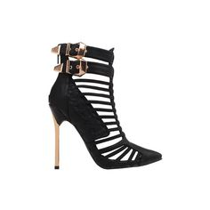 Gabriella Black Strappy Stiletto Heels (430 RON) ❤ liked on Polyvore featuring shoes, pumps, heels, black strap shoes, black strappy stilettos, black heeled shoes, heels stilettos and strap pumps