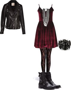 inspired for christmas by effy-stonem-style featuring net stockings Boohoo skater dress / Pull Bear moto jacket, $63 / Boohoo net stocking / Forever 21 boots / River Island black bracelet, $28 / Chain necklace