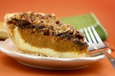 Pumpkin Cheesecake Pecan Pie - this is getting eaten this thanksgiving. All of my favorites in one!