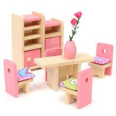 Delicado de madera Muebles de casa de Muñecas Juguetes En Miniatura Para Niños Niños Juegos de imaginación 6 habitación/4 Muñecas Juguetes