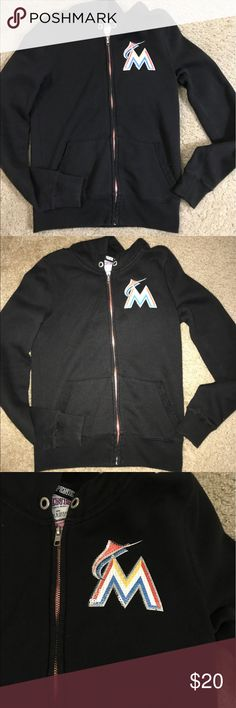 PINK VICTORIA'S SECRET MLB SWEATER. Size XS. PINK VICTORIA'S SECRET SWEATER. SIZE XS. MLB sweater for the Miami Marlins. Has sequins in the front and in the back (as photographed). Gently used with pill. Has zipper in the front. (no trades)😊😊😊😊 PINK Victoria's Secret Sweaters