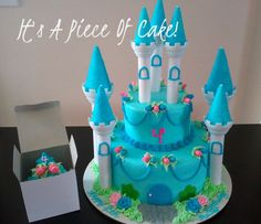 Castle cake with matching cupcake, Buttercream icing, fondant roses and crown. - Rebecca L.
