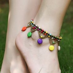 New Fashion Style Ethnic Beads Braided Copper Bell Anklet Bracelet Foot Anklets For Women Foot Jewelry Anklet Jewelry, Anklet Bracelet, Beaded Bracelets, Tassel Bracelet, Chain Jewelry, Beach Foot Jewelry, Anklet Designs, Tatto Designs, Fashion Jewelry