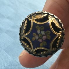 Silver ring with vintage button as decoration