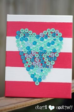 Button heart canvas Pretty DIY home decor idea!