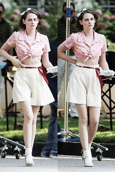 kristen stewart, Kristen On Set of The New Woody Allen Film.(x)