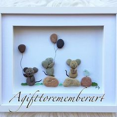 """""""Little mice and a bird"""" continuing with my kid's collection with these adorable little mice! #agifttorememberart #pebbleart #art #originaldesign #mouse #bird #balloons #kidsroom #kidsdecor #birthdaygift #cute #etsy #etsyseller #animallovers #craft #handmade #unique #makersgonnamake #photooftheday #instaphoto #instaart #baby #babyroom"""