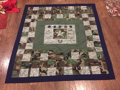 Quilt made from my sons uniforms. Camo Quilt, Flag Quilt, Patriotic Quilts, Army Crafts, Military Crafts, Army Uniform, Marines Uniform, Quilting Designs, Quilting Projects