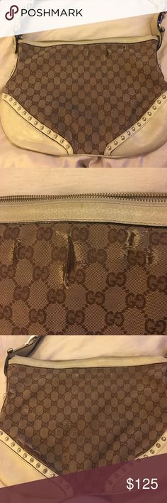 Gucci Pelham bag Gucci Pelham bag, ivory leather, brass details, original logo fabric. This bag has lots of wear but could the leather is in good condition, all brass is intact, just needs a little love and clean up serial# 144011002058 Gucci Bags Crossbody Bags