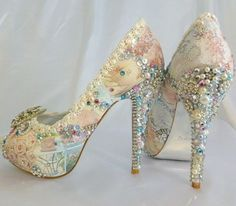 CUSTOM MADE WEDDING SHOES  collage art personalized design