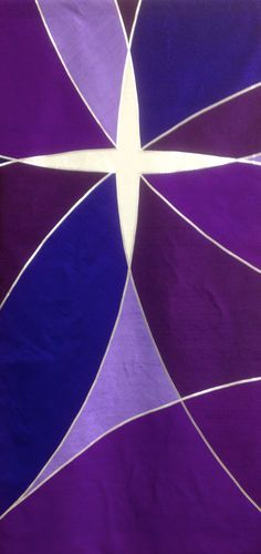 Advent banner of silk dupioni and silver lame'.