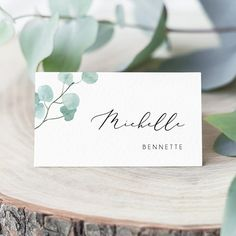 Love the simplicity of the place card, the continued theme of eucalyptus, and that it feels unified with the invitations. Wedding Table Name Cards, Wedding Name Tags, Wedding Seating Cards, Table Cards, Table Seating Cards, Wedding Pins, Printable Place Cards, Place Card Template, Wedding Stationary