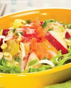 A pulpy fruit like muskmelon is pureed and used as a dressing unlike the usually fat laden options. A lively medley of veggies and fruits make this an interesting salad, which is further improved by the addition of bean sprouts. This nutritious salad can be had as a snack between meals to satiate...