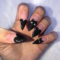 """plain nails make me sad "" Edgy Nails, Goth Nails, Black Stiletto Nails, Stylish Nails, Aycrlic Nails, Hair And Nails, Grunge Nails, Cat Nail Designs, Halloween Nail Designs"